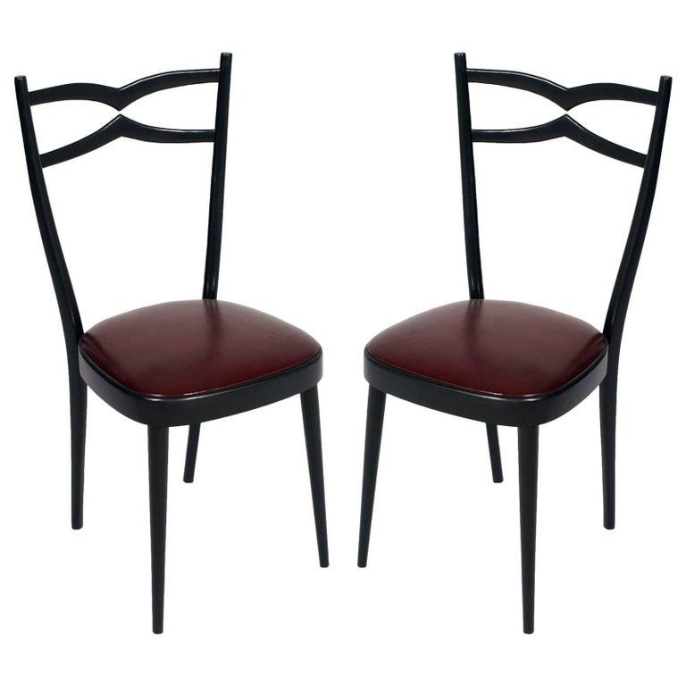 1940s Side Chairs Carlo di Carli Attributed Black Lacquered Walnut, Leatherete