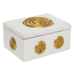 Zaccagnini Ceramic Box White Gold Lidded Signed, Italy, 1950s