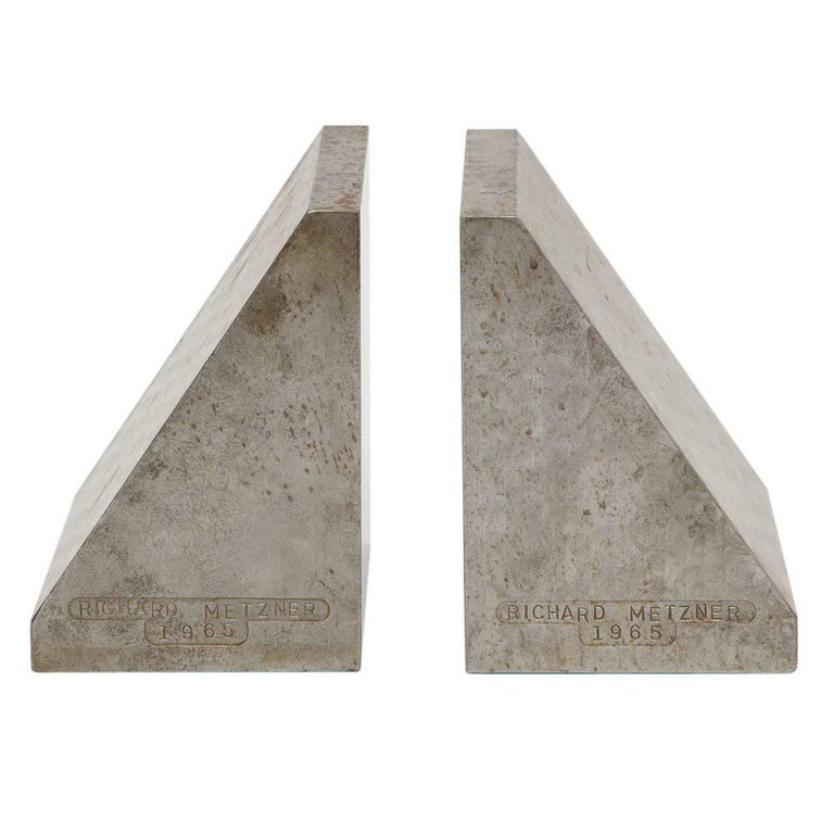 Richard Metzner Steel Bookends Gray Signed, USA, 1960s