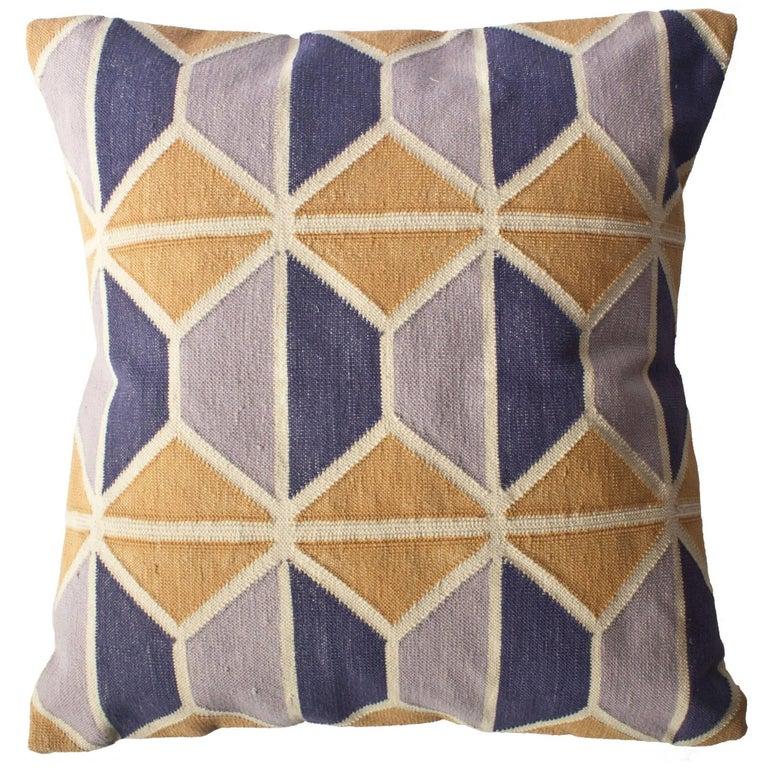 Geometric Mave Hand Woven Modern Hexagon Throw Pillow Cover