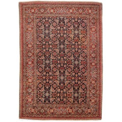 Antique Persian Tabriz Rug Mahi Design Haji Style Blue and Red Allover