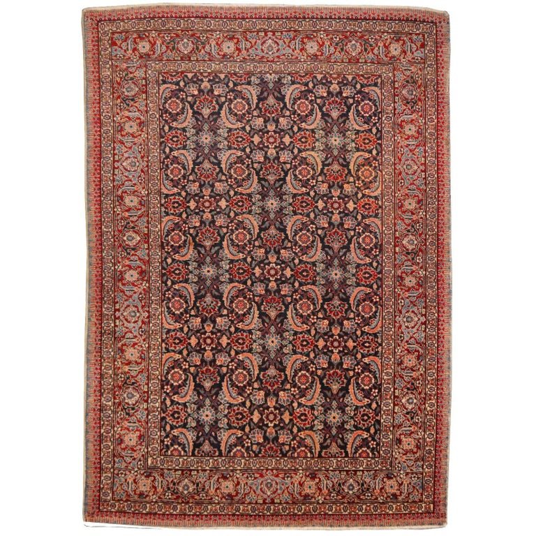 Antique Persian Tabriz Rug Mahi Design Haji Style Blue and Red Allover 1
