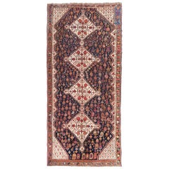 Antique Persian Rug of 1890. Kasghai with Diamonds, Flowers and Animals Design.