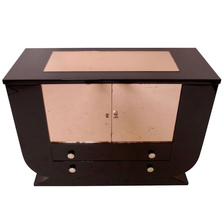 1930s Black Lacquer Bar Cabinet with Drawers, French Art Deco