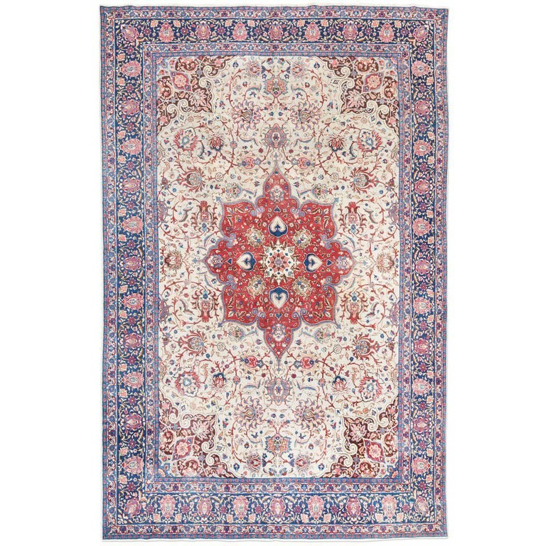 Antique Tabriz Rug with a Classic Persian Design, circa 1900.