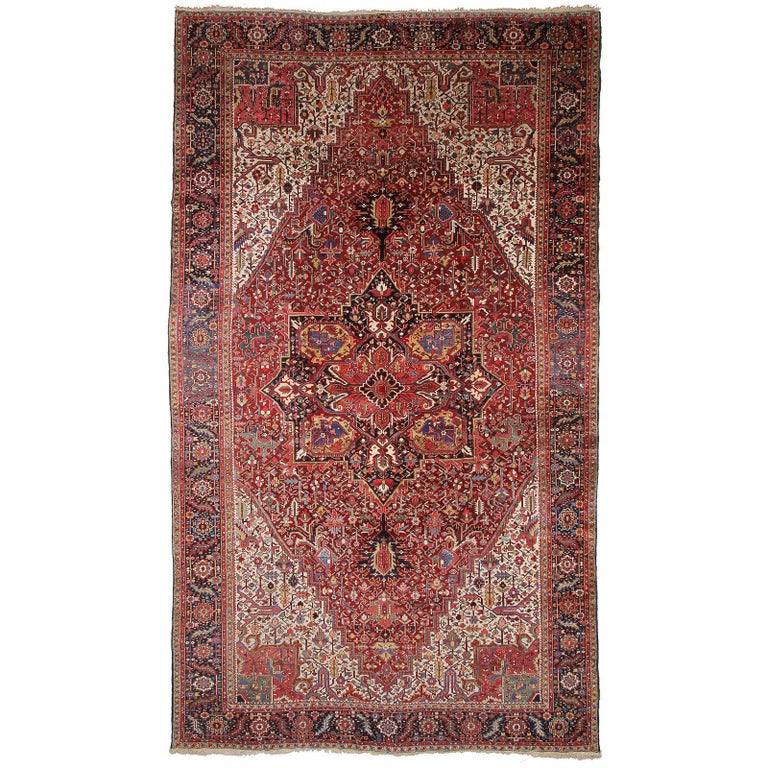 Persian Rug Heriz Oversized Large Hand Knotted Carpet 1