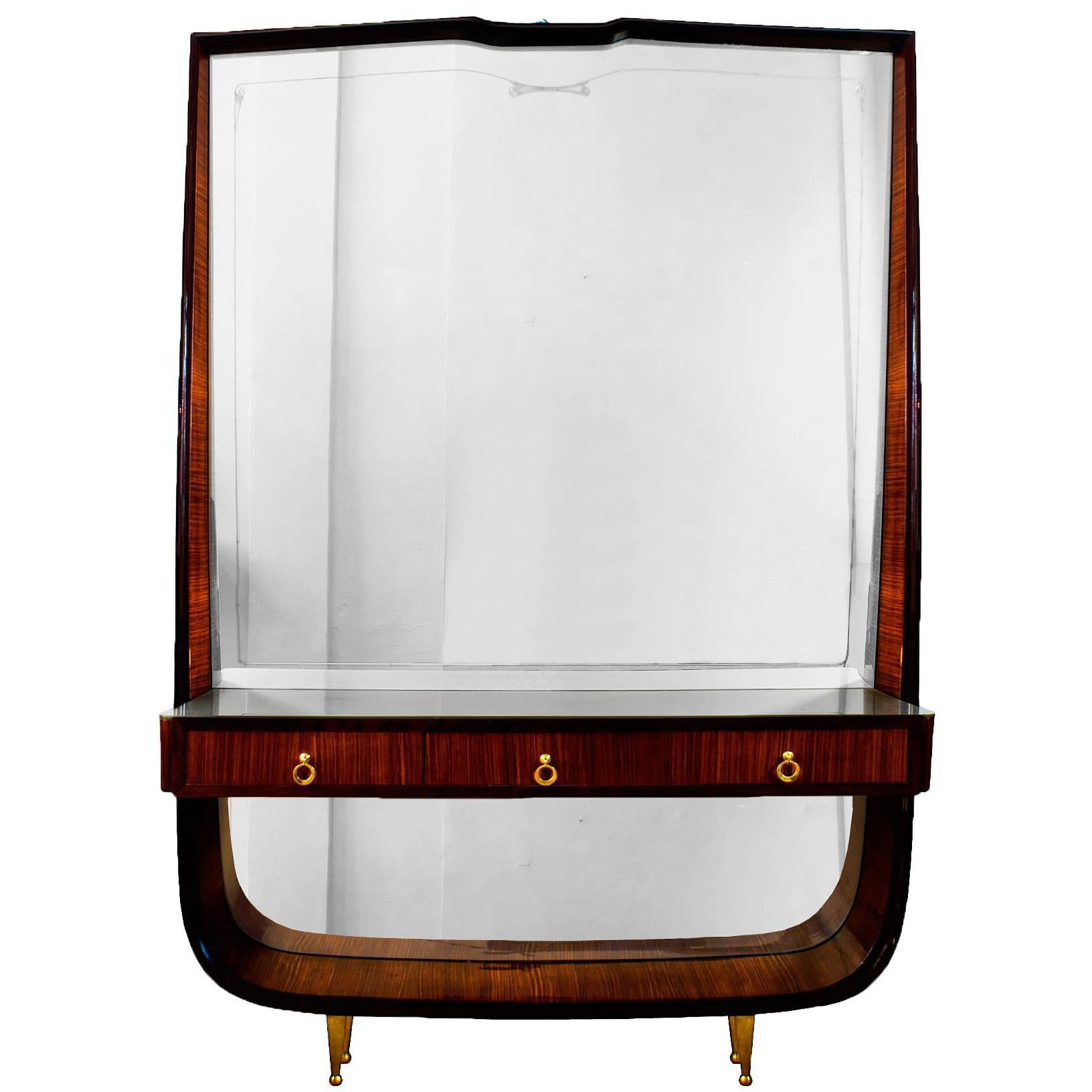 1940s Entrance Console Mirror, Mahogany, Brass, Three Drawers, Italy
