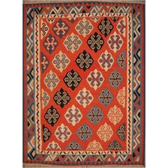 Persian Qashgai Vintage Hand Woven Kilim Rug
