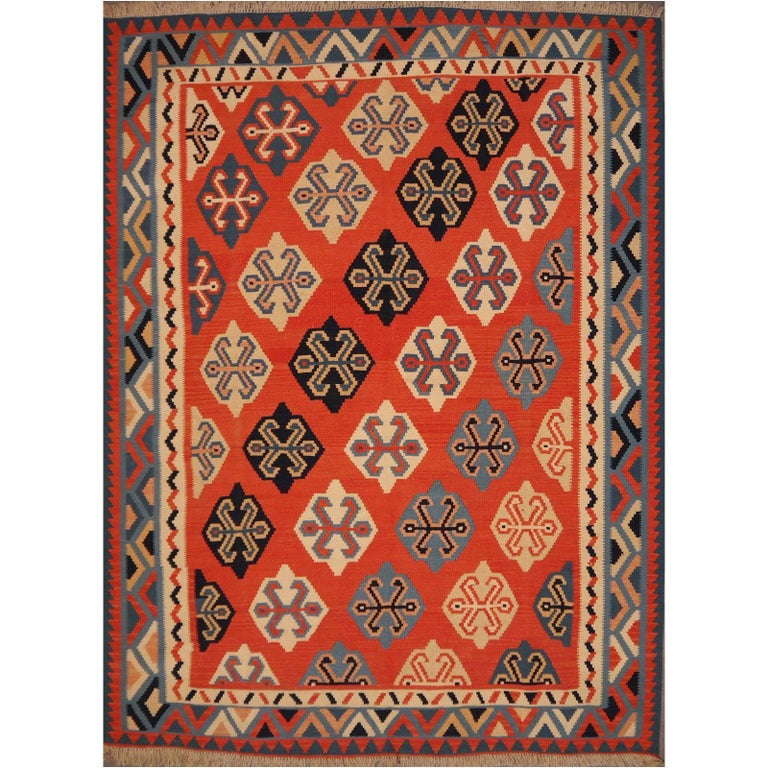 Persian Qashgai Vintage Hand Woven Kilim Rug For Sale