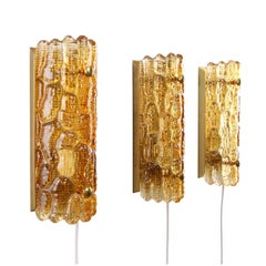 Gefion Sconces 'Set of Three', Amber Crystal Wall Lights by Lyfa/Orrefors, 1960s