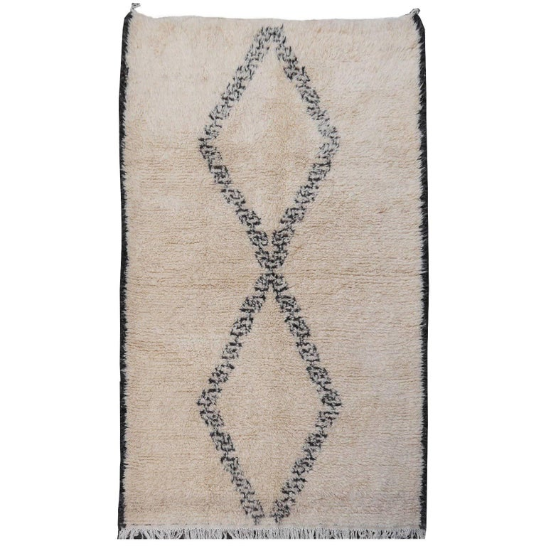 North African Beni Ourain Tribal Rug Wool White and Black Two Diamond Design For Sale