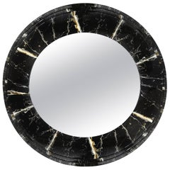 Large Faux Marble Round Mirror
