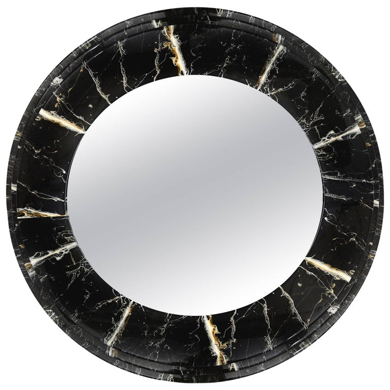 Large faux marble round mirror for sale at 1stdibs for Large round mirrors for sale