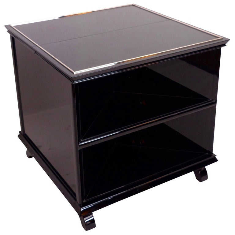 1930s Twistable Black Lacquer Bar Cube, French Art Deco