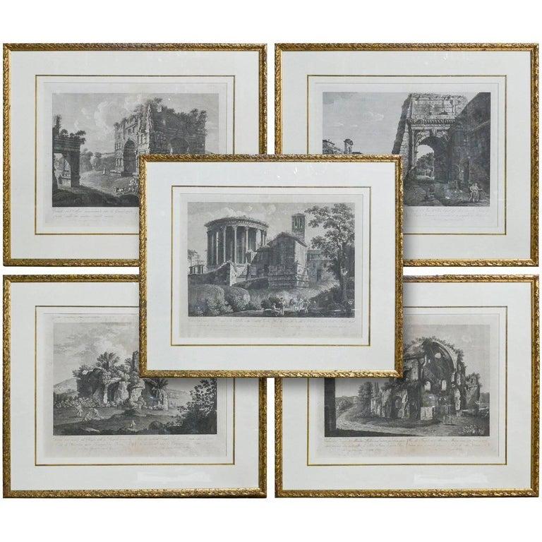 Set of Five 18th Century Italian Engravings