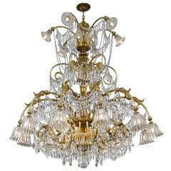 Baccarat Art Deco-Period Eighteen-Light Crystal Chandelier