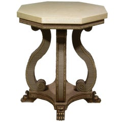 Hadrian Octagonal Table in Studded Velvet