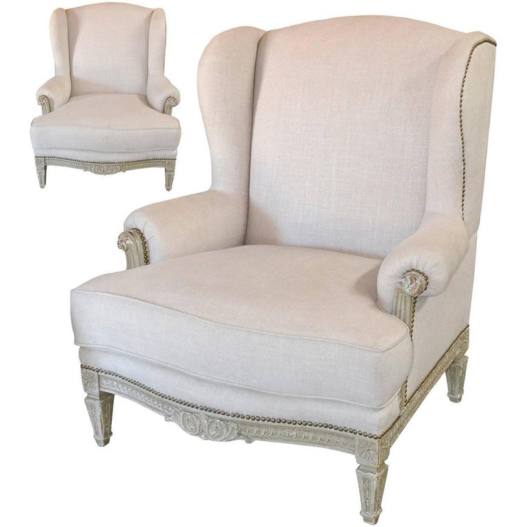 19th Century Pair of French Louis XVI Bergeres