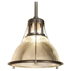 Vintage Holophane Pendant Light, Lamp Metal and Glass