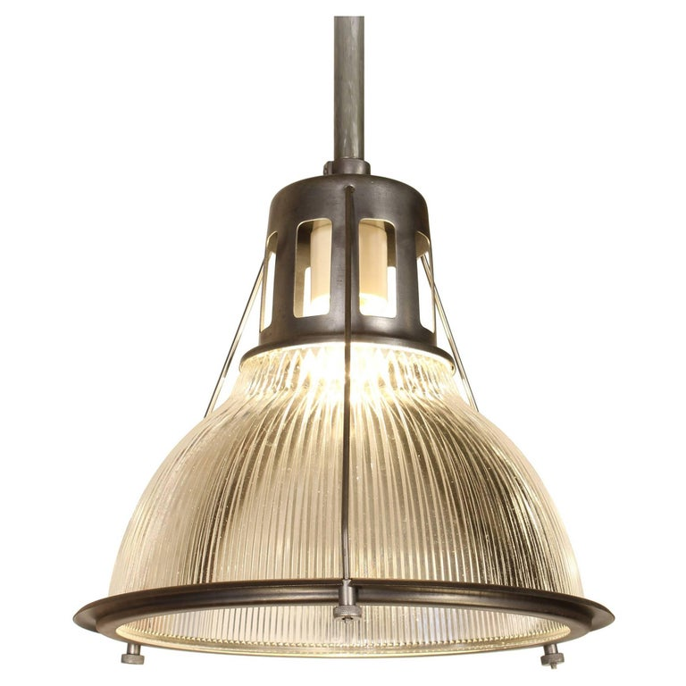 Vintage Holophane Pendant Light, Lamp Metal and Glass For Sale