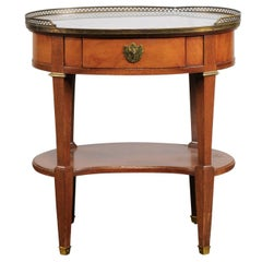 Grosfeld House Marble Top Oval Table with Bronze Gallery and One Drawer