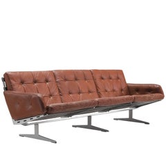 German Three-Seat Leather and Steel Sofa