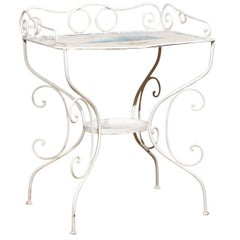 French Wrought Iron Garden Table with Steampunk Painting