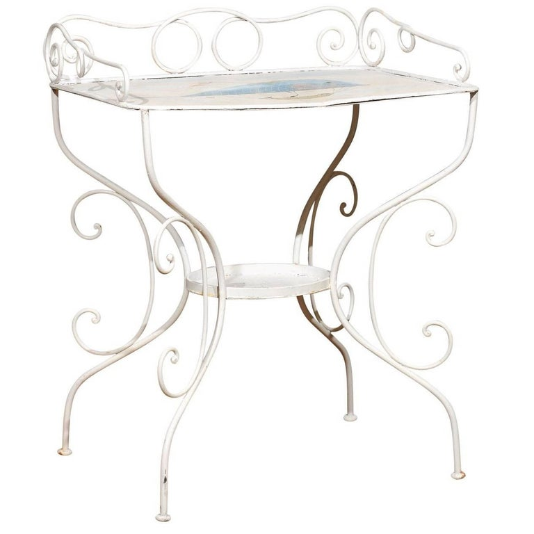 French Wrought Iron Garden Table with Steampunk Painting For Sale