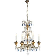 Italian 18th Century Giltwood, Gilt Metal and Glass Six-Light Chandelier