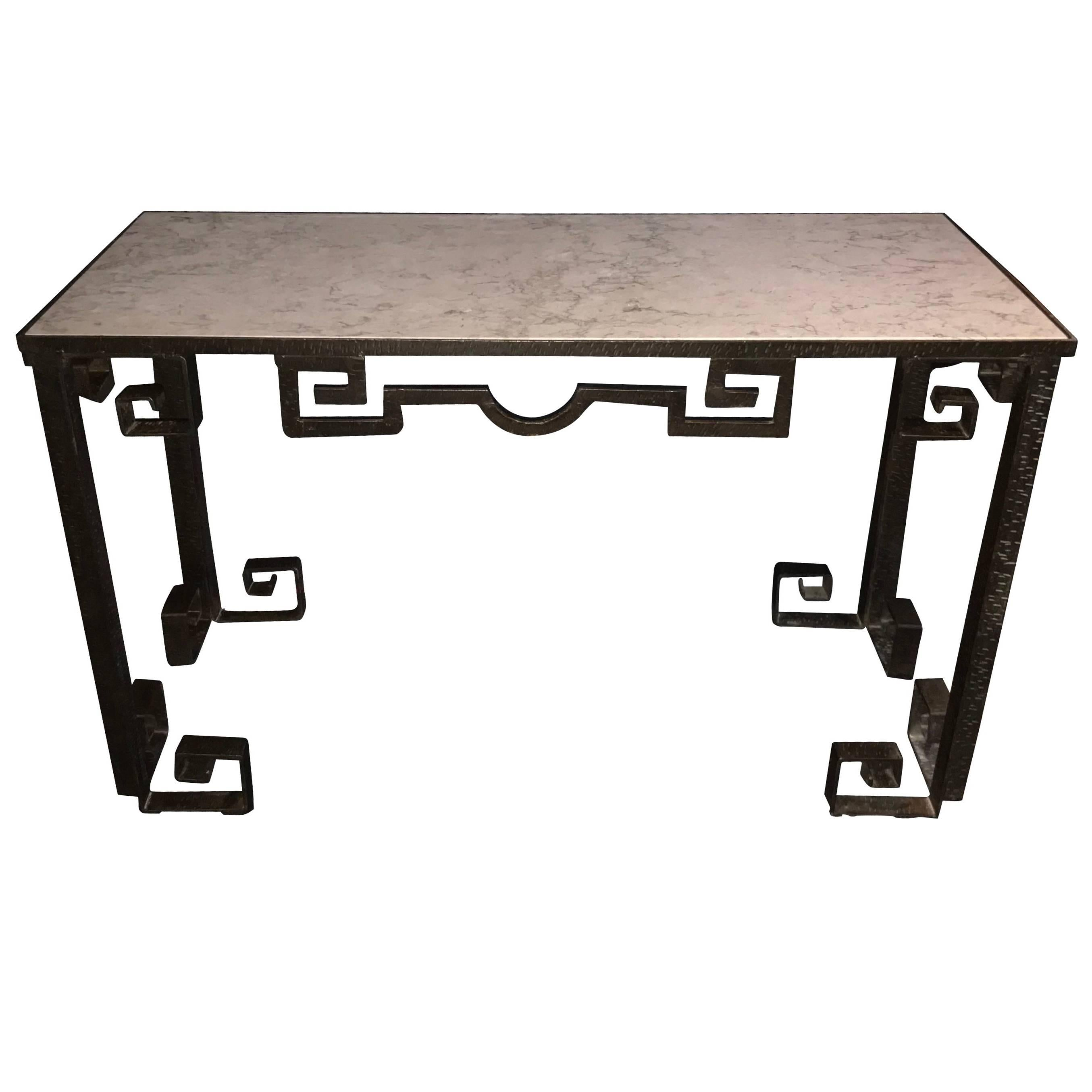 Greek Key Design Hammered Iron Marble Top Console Table, France, 1950s