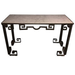 Hammered Iron Console Table, France, 1950s