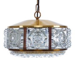 Pressed Glass Pendant by Vitrika, 1960s, Gorgeous Regency Style Hanging Lamp