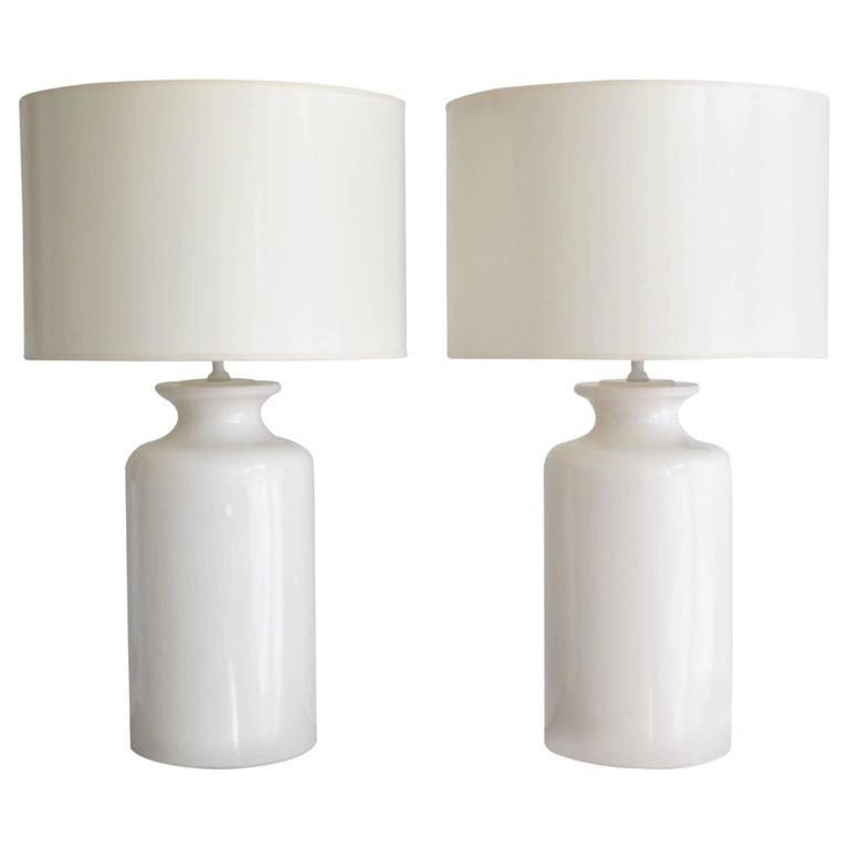 Pair of White Glazed Ceramic Jar Form Table Lamps