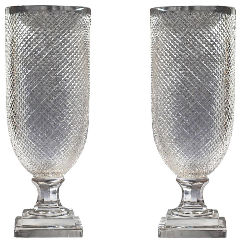 Pair of Large Mid-19th Century Crystal Hurricane Vase Candle Lustres