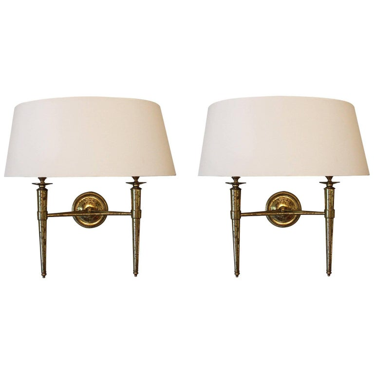 Prince De Galles Hotel, Elegant 1940 Pair of Brass Sconces