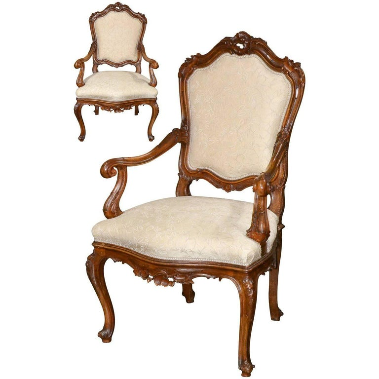 19th Century Pair of French Louis XV Rococo Armchairs