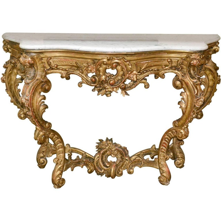 19th Century French Louis XV Rococo Console For Sale at 1stdibs