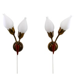 Tulip Wall Sconces by Fog & Mørup, 1940s Brass Wall Lamps Milk-Glass Bulps