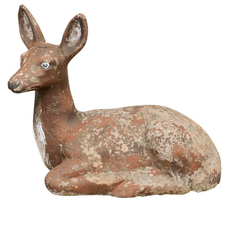 1950s French Vintage Seated Deer Painted Sculpture Cast in Reconstituted Stone