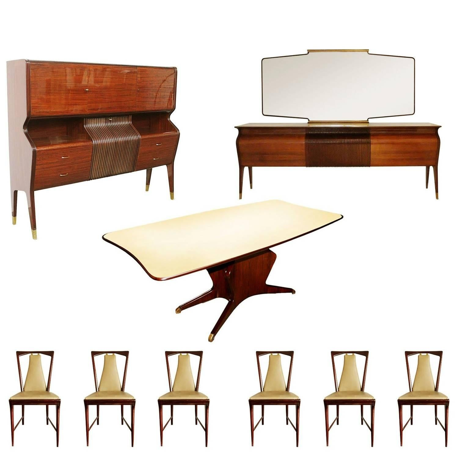 Mid Century Modern Complete Dining Room Set Osvaldo Borsani Style, Circa  1955 For Sale