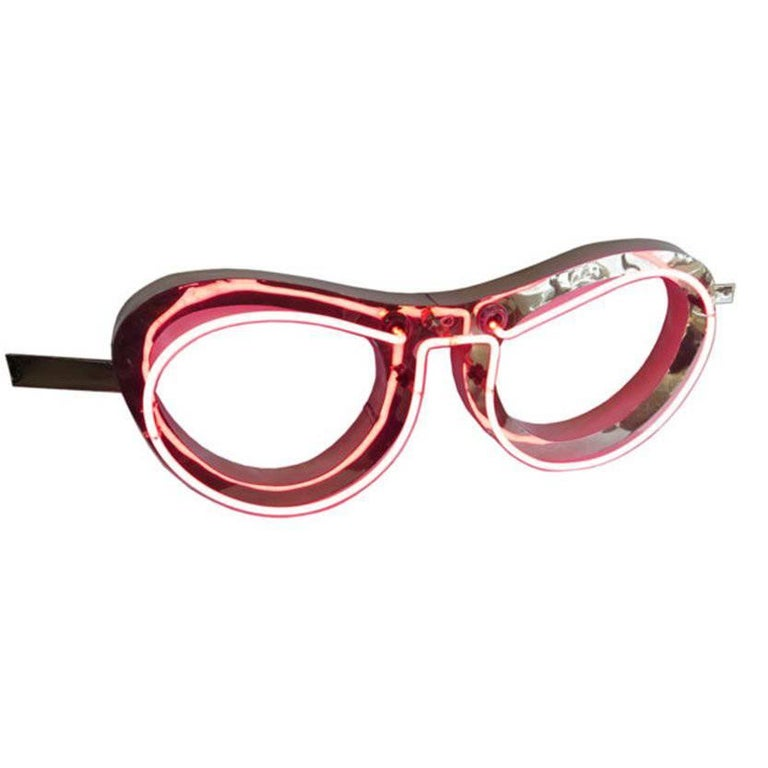 Absolutely Fabulous 1950s Pink Neon Eyeglass Sign For Sale
