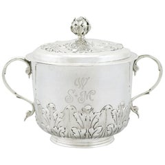 1689 Antique Sterling Silver Porringer and Cover