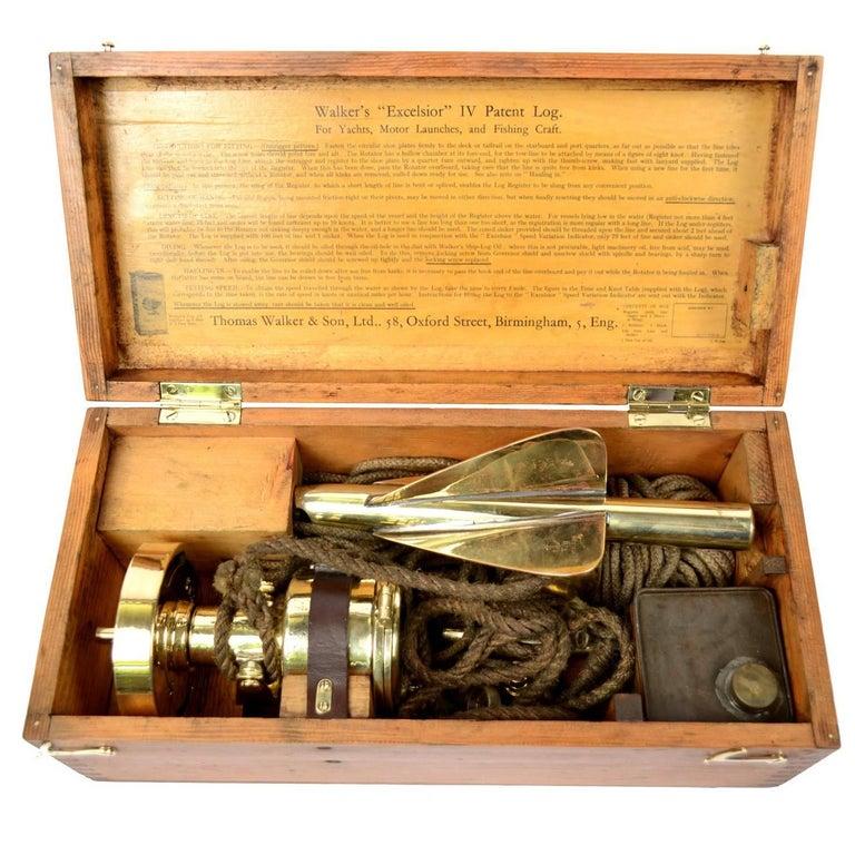 Brass Log Signed Walker's Excelsior IV Patent Log, 1920 circa For Sale