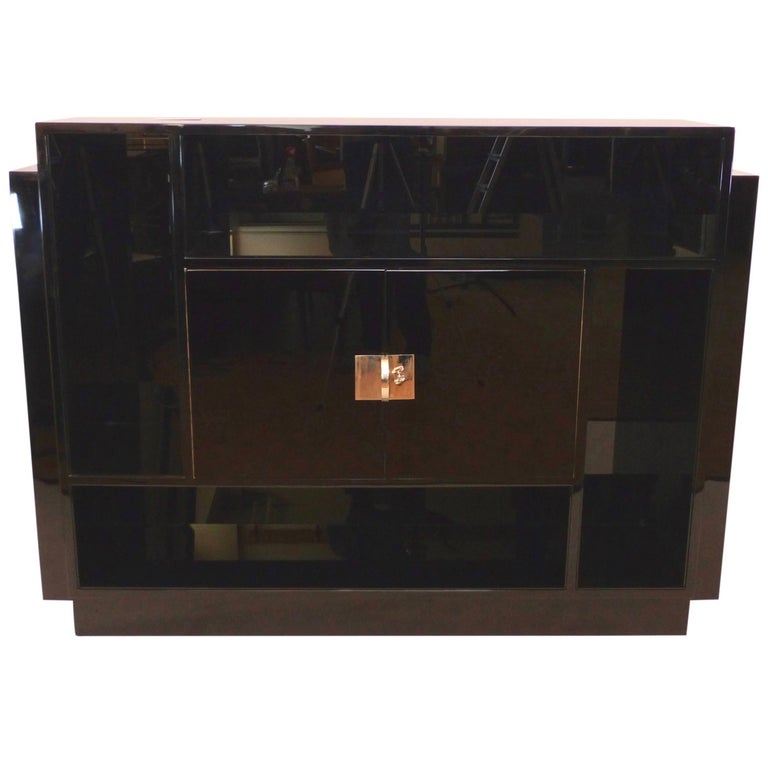 1930s Black Lacquer Bar with Shelves, French Art Deco