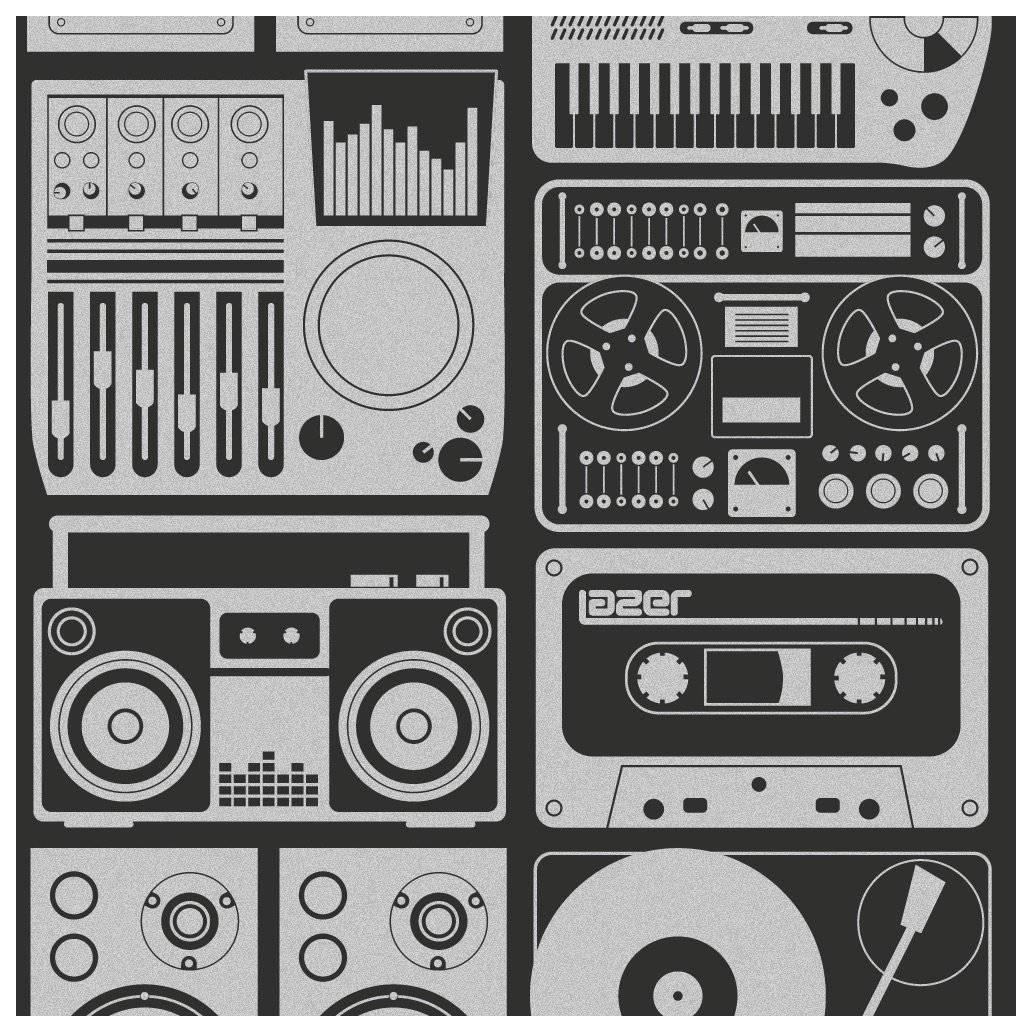 Analog Nights Designer Screen Printed Wallpaper in Thunder 'Silver on Charcoal'