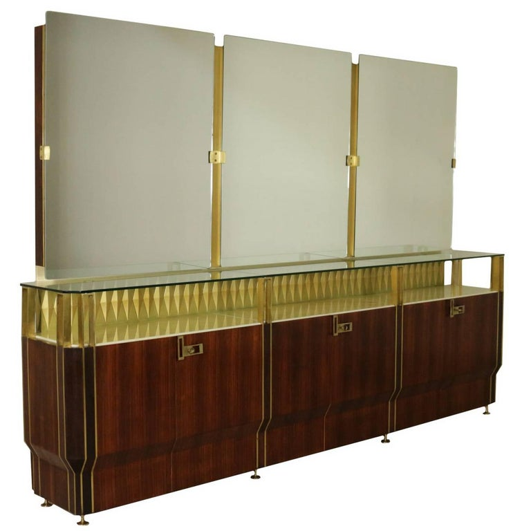 Buffet with Mirror by Vittorio Dassi Rosewood Veneer Brass, Vintage Italy, 1950s For Sale