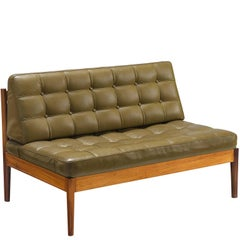 Finn Juhl 'Diplomat' Sofa in Olive Green Leather and Rosewood