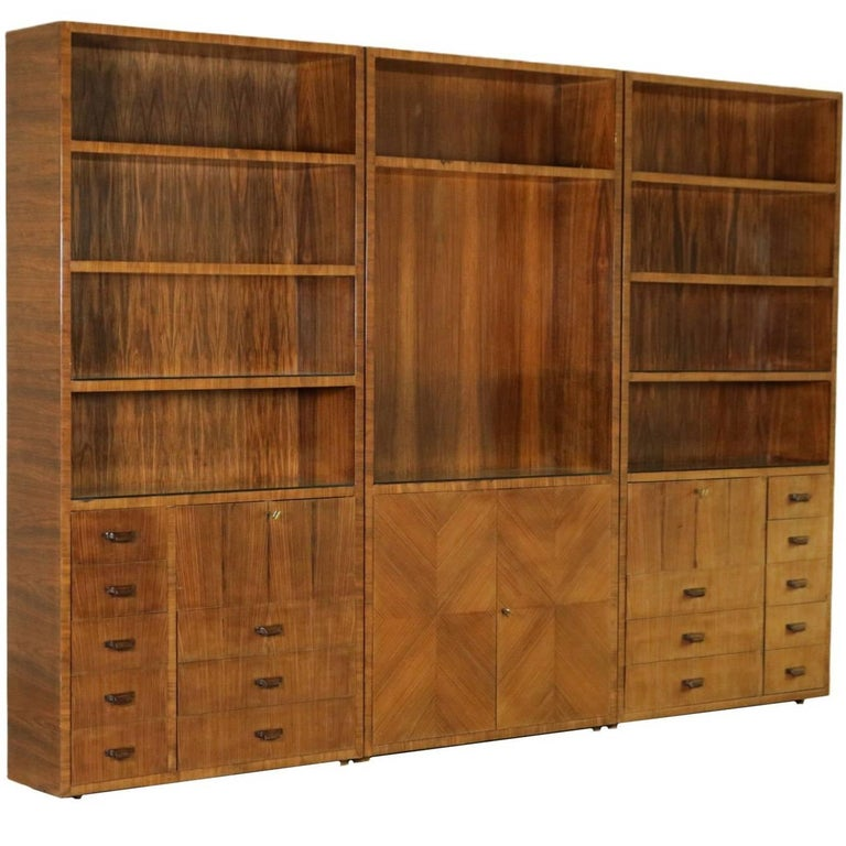 Bookcase Rosewood Veneer Glass Vintage Manufactured in Italy, 1940s 1