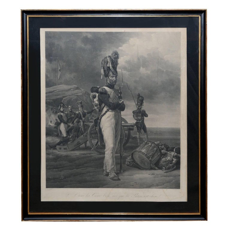 Large French Black and White Lithograph, circa 1840