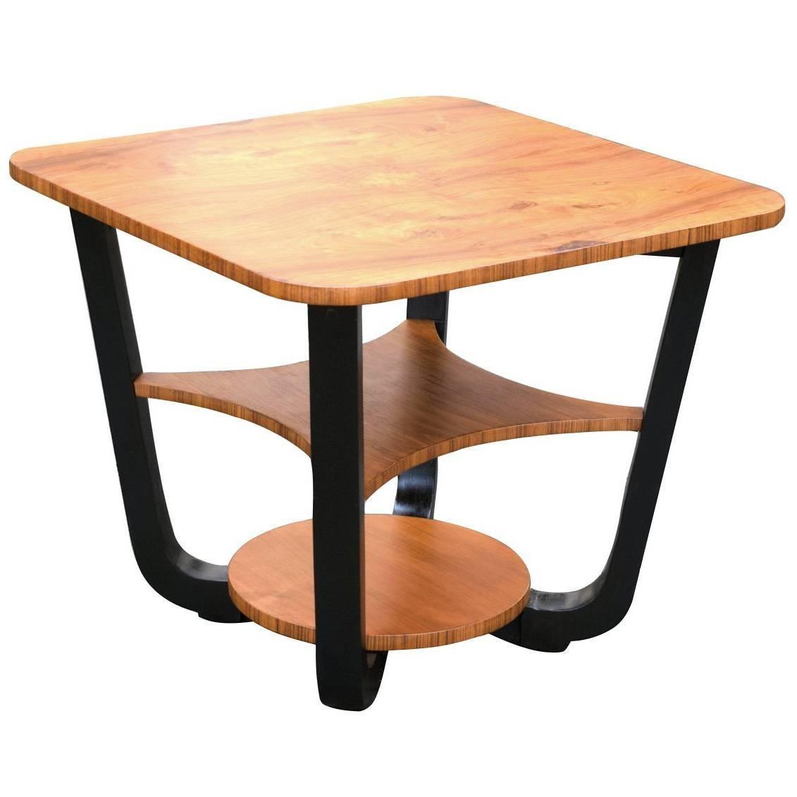 English Art Deco Occasional Table in Figured Walnut, circa 1930